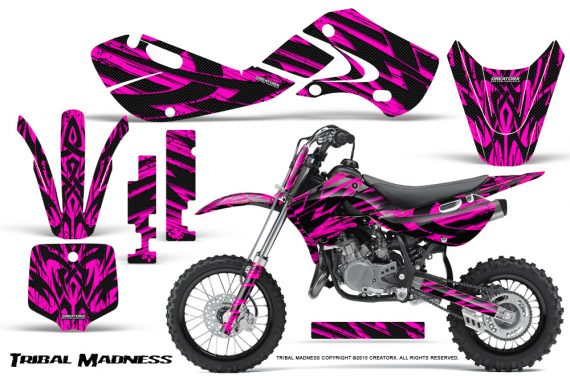 Kawasaki KLX110 02 09 KX65 02 12 CreatorX Graphics Kit Tribal Madness Pink 570x376 - Kawasaki KX65 2002-2017 Graphics