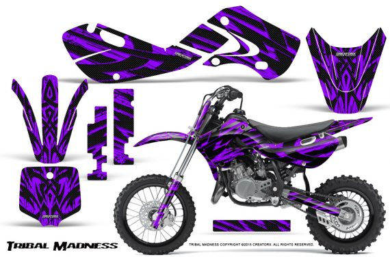 Kawasaki KLX110 02 09 KX65 02 12 CreatorX Graphics Kit Tribal Madness Purple 570x376 - Kawasaki KX65 2002-2017 Graphics