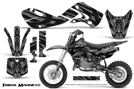 Kawasaki KLX110 02 09 KX65 02 12 CreatorX Graphics Kit Tribal Madness Silver 570x376 - Kawasaki KX65 2002-2017 Graphics