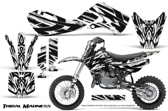 Kawasaki KLX110 02 09 KX65 02 12 CreatorX Graphics Kit Tribal Madness White 570x376 - Kawasaki KX65 2002-2017 Graphics