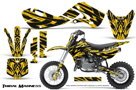 Kawasaki KLX110 02 09 KX65 02 12 CreatorX Graphics Kit Tribal Madness Yellow 570x376 - Kawasaki KX65 2002-2017 Graphics