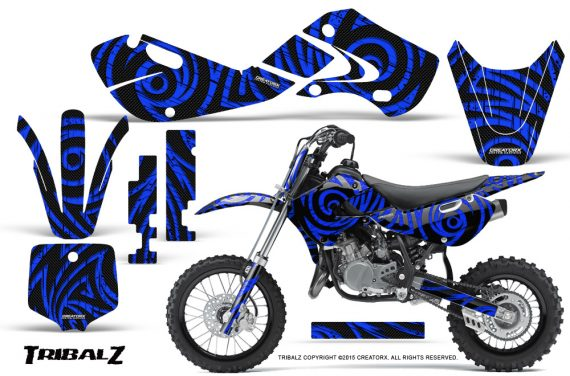 Kawasaki KLX110 02 09 KX65 02 12 CreatorX Graphics Kit TribalZ Blue 570x376 - Kawasaki KX65 2002-2017 Graphics