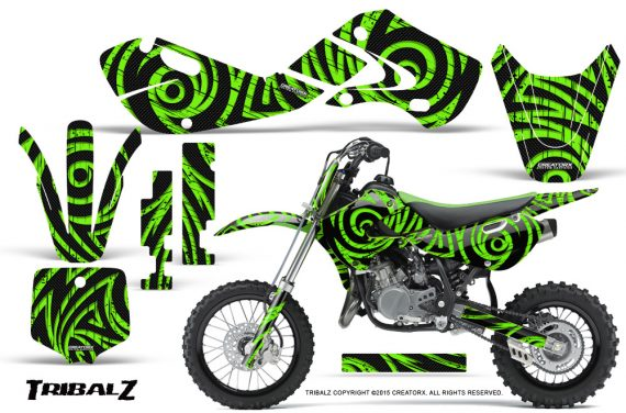 Kawasaki KLX110 02 09 KX65 02 12 CreatorX Graphics Kit TribalZ Green 570x376 - Kawasaki KX65 2002-2017 Graphics