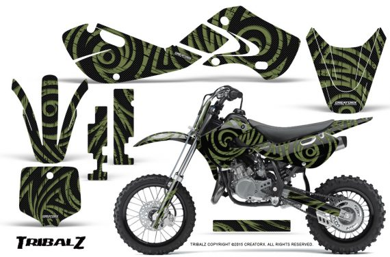 Kawasaki KLX110 02 09 KX65 02 12 CreatorX Graphics Kit TribalZ GreenArmy 570x376 - Kawasaki KX65 2002-2017 Graphics