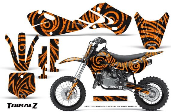 Kawasaki KLX110 02 09 KX65 02 12 CreatorX Graphics Kit TribalZ Orange 570x376 - Kawasaki KX65 2002-2017 Graphics