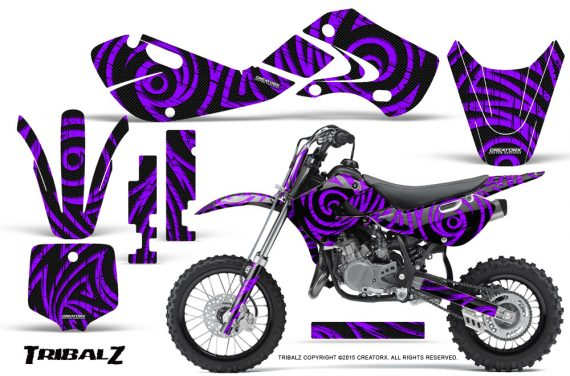 Kawasaki KLX110 02 09 KX65 02 12 CreatorX Graphics Kit TribalZ Purple 570x376 - Kawasaki KX65 2002-2017 Graphics