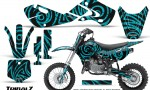 Kawasaki KLX110 02 09 KX65 02 12 CreatorX Graphics Kit TribalZ Teal 150x90 - Kawasaki KX65 2002-2017 Graphics