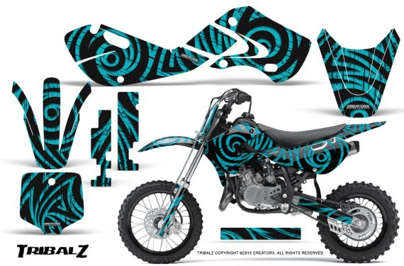 Kawasaki KLX110 02 09 KX65 02 12 CreatorX Graphics Kit TribalZ Teal 570x376 - Kawasaki KX65 2002-2017 Graphics