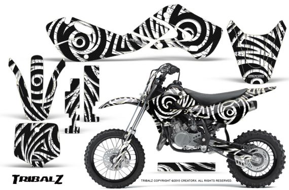 Kawasaki KLX110 02 09 KX65 02 12 CreatorX Graphics Kit TribalZ White 570x376 - Kawasaki KX65 2002-2017 Graphics