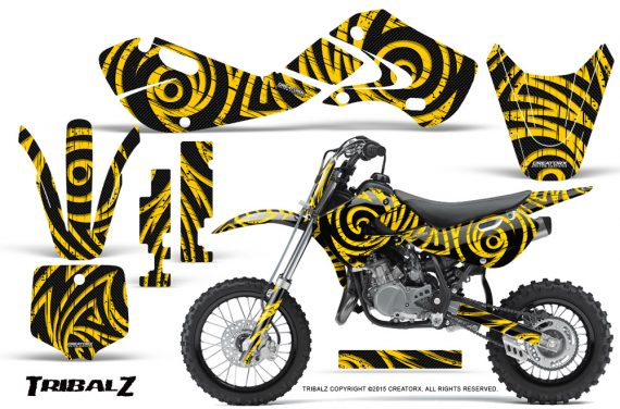 Kawasaki KLX110 02 09 KX65 02 12 CreatorX Graphics Kit TribalZ Yellow 570x376 - Kawasaki KX65 2002-2017 Graphics