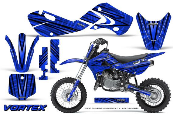 Kawasaki KLX110 02 09 KX65 02 12 CreatorX Graphics Kit VorteX Blue 570x376 - Kawasaki KX65 2002-2017 Graphics