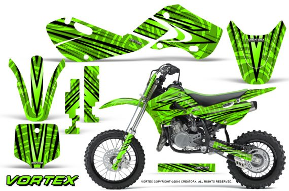 Kawasaki KLX110 02 09 KX65 02 12 CreatorX Graphics Kit VorteX Green 570x376 - Kawasaki KX65 2002-2017 Graphics