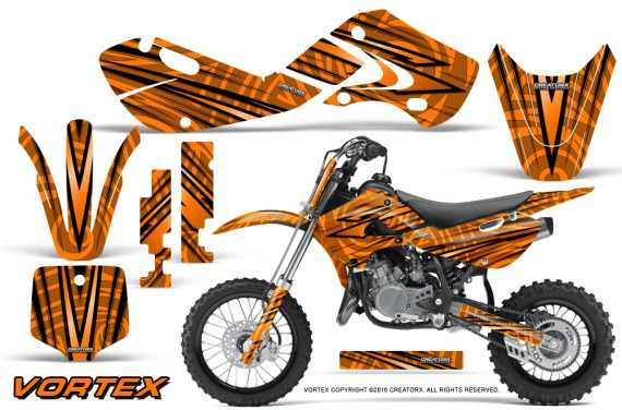 Kawasaki KLX110 02 09 KX65 02 12 CreatorX Graphics Kit VorteX Orange 570x376 - Kawasaki KX65 2002-2017 Graphics