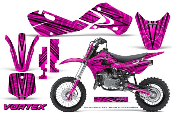 Kawasaki KLX110 02 09 KX65 02 12 CreatorX Graphics Kit VorteX Pink 570x376 - Kawasaki KX65 2002-2017 Graphics