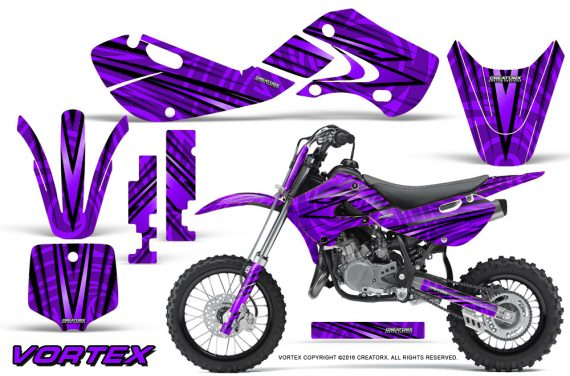 Kawasaki KLX110 02 09 KX65 02 12 CreatorX Graphics Kit VorteX Purple 570x376 - Kawasaki KX65 2002-2017 Graphics