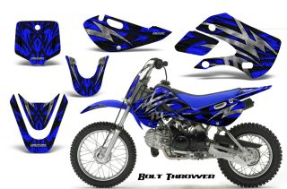Kawasaki-KLX110-KX65-CreatorX-Graphics-Kit-Bolt-Thrower-Blue