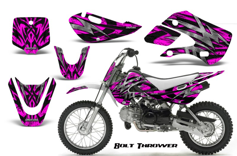 Kawasaki-KLX110-KX65-CreatorX-Graphics-Kit-Bolt-Thrower-Pink