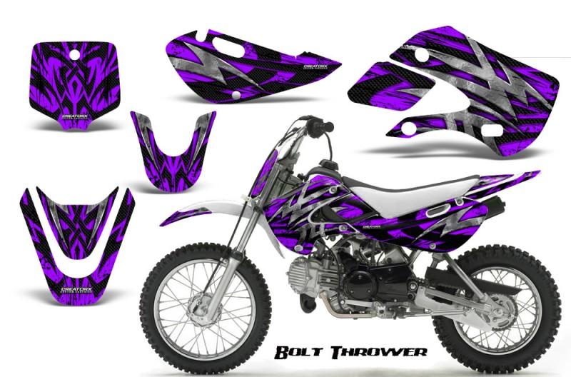 Kawasaki-KLX110-KX65-CreatorX-Graphics-Kit-Bolt-Thrower-Purple