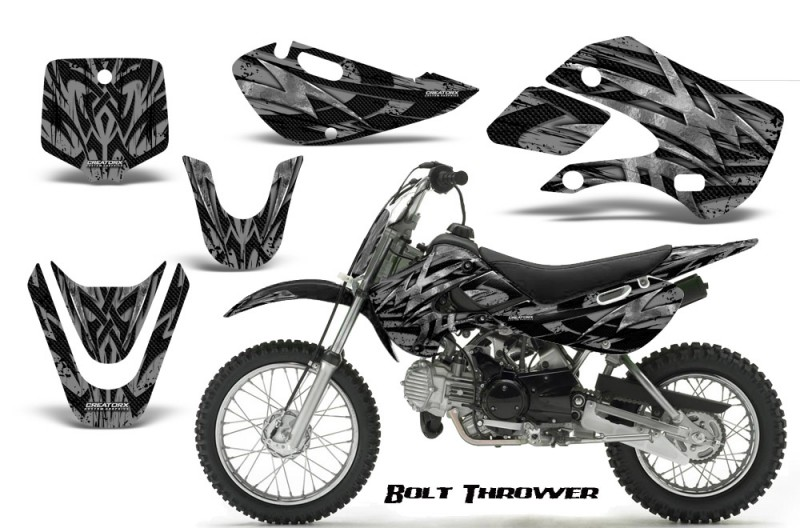 Kawasaki-KLX110-KX65-CreatorX-Graphics-Kit-Bolt-Thrower-Silver