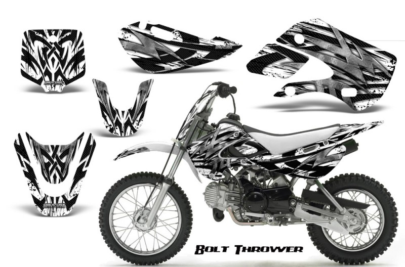 Kawasaki-KLX110-KX65-CreatorX-Graphics-Kit-Bolt-Thrower-White