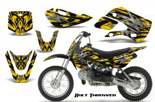 Kawasaki KLX110 KX65 CreatorX Graphics Kit Bolt Thrower Yellow 320x211 - Can-Am Maverick X3 TribalX Custom Version Graphics