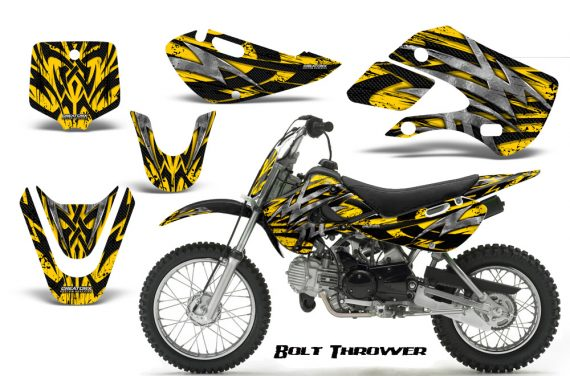 Kawasaki KLX110 KX65 CreatorX Graphics Kit Bolt Thrower Yellow 570x376 - Kawasaki KLX110 2002-2009 Graphics