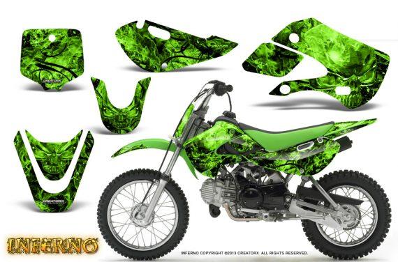 Kawasaki KLX110 KX65 CreatorX Graphics Kit Inferno Green 570x376 - Kawasaki KLX110 2002-2009 Graphics