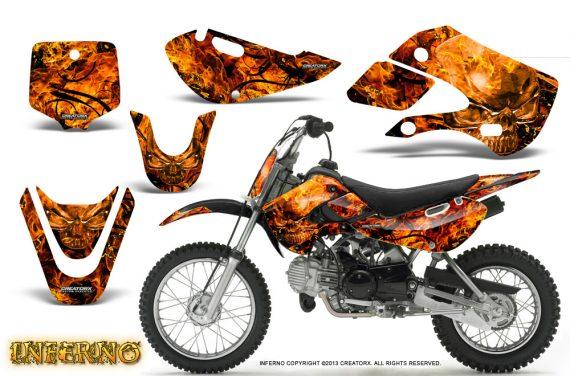 Kawasaki KLX110 KX65 CreatorX Graphics Kit Inferno Orange 570x376 - Kawasaki KLX110 2002-2009 Graphics