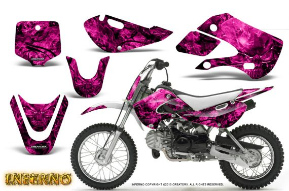 Kawasaki KLX110 KX65 CreatorX Graphics Kit Inferno Pink 570x376 - Kawasaki KLX110 2002-2009 Graphics