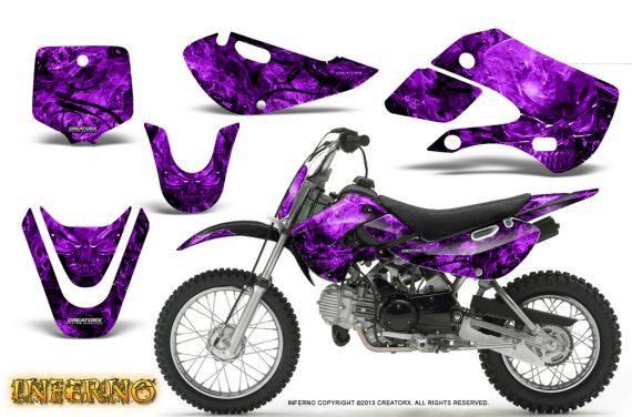 Kawasaki KLX110 KX65 CreatorX Graphics Kit Inferno Purple 570x376 - Kawasaki KLX110 2002-2009 Graphics