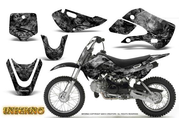 Kawasaki KLX110 KX65 CreatorX Graphics Kit Inferno Silver 570x376 - Kawasaki KLX110 2002-2009 Graphics