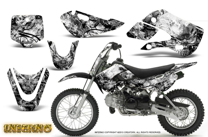 Kawasaki-KLX110-KX65-CreatorX-Graphics-Kit-Inferno-White