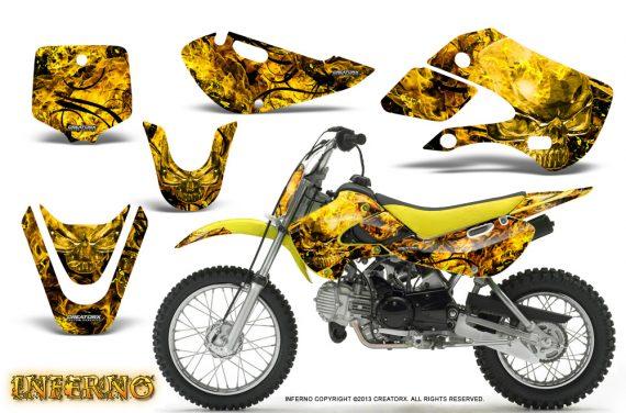 Kawasaki KLX110 KX65 CreatorX Graphics Kit Inferno Yellow1 570x376 - Kawasaki KLX110 2002-2009 Graphics
