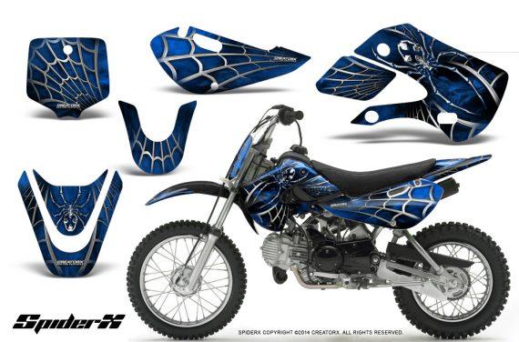 Kawasaki KLX110 KX65 CreatorX Graphics Kit SpiderX Blue 570x376 - Kawasaki KLX110 2002-2009 Graphics