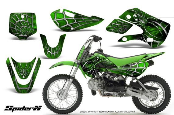 Kawasaki KLX110 KX65 CreatorX Graphics Kit SpiderX Green 570x376 - Kawasaki KLX110 2002-2009 Graphics
