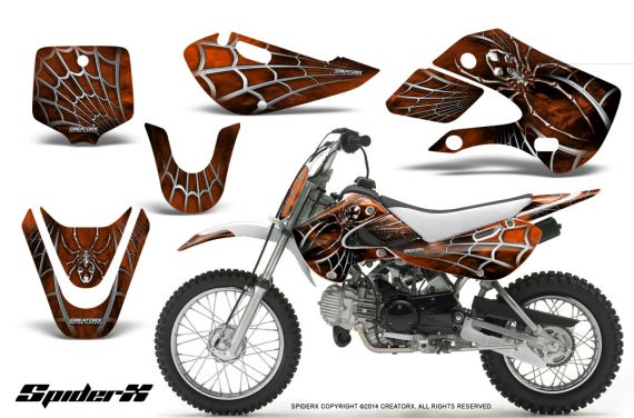 Kawasaki-KLX110-KX65-CreatorX-Graphics-Kit-SpiderX-Orange