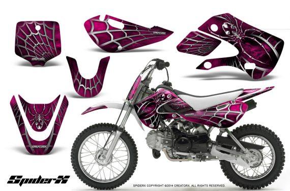 Kawasaki KLX110 KX65 CreatorX Graphics Kit SpiderX Pink 570x376 - Kawasaki KLX110 2002-2009 Graphics