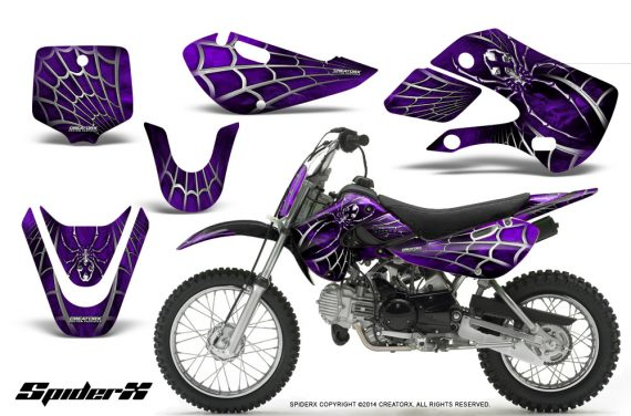 Kawasaki-KLX110-KX65-CreatorX-Graphics-Kit-SpiderX-Purple