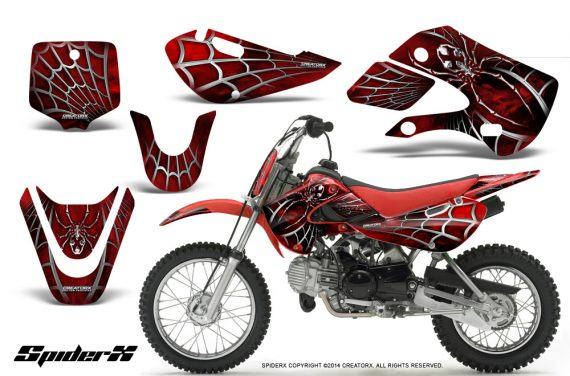 Kawasaki-KLX110-KX65-CreatorX-Graphics-Kit-SpiderX-Red