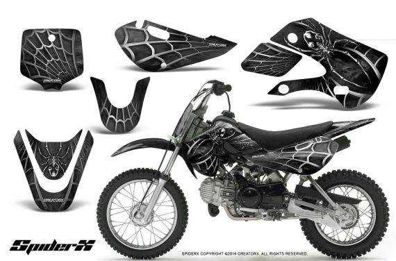 Kawasaki-KLX110-KX65-CreatorX-Graphics-Kit-SpiderX-Silver