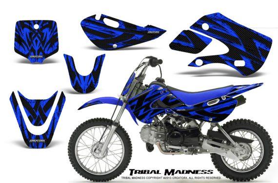 Kawasaki KLX110 KX65 CreatorX Graphics Kit Tribal Madness Blue 570x376 - Kawasaki KLX110 2002-2009 Graphics