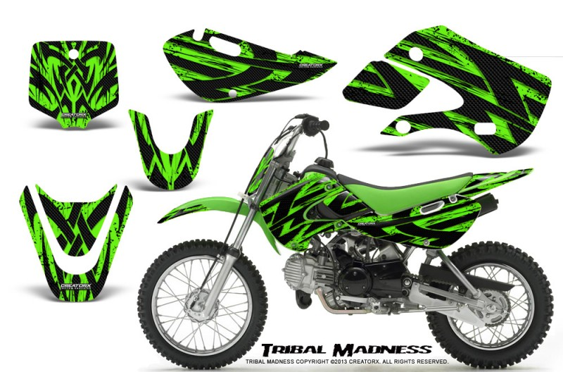 Kawasaki-KLX110-KX65-CreatorX-Graphics-Kit-Tribal-Madness-Green