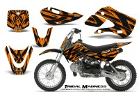 Kawasaki-KLX110-KX65-CreatorX-Graphics-Kit-Tribal-Madness-Orange