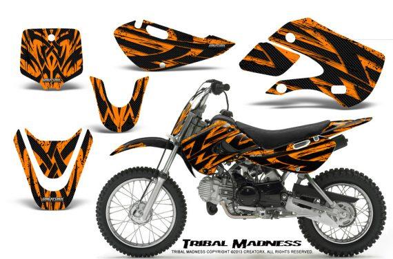 Kawasaki KLX110 KX65 CreatorX Graphics Kit Tribal Madness Orange 570x376 - Kawasaki KLX110 2002-2009 Graphics