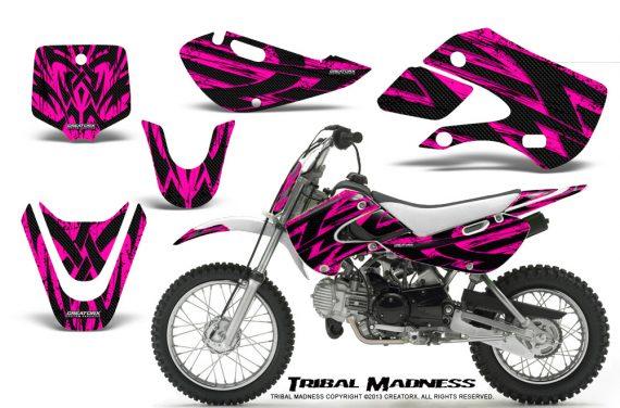 Kawasaki KLX110 KX65 CreatorX Graphics Kit Tribal Madness Pink 570x376 - Kawasaki KLX110 2002-2009 Graphics