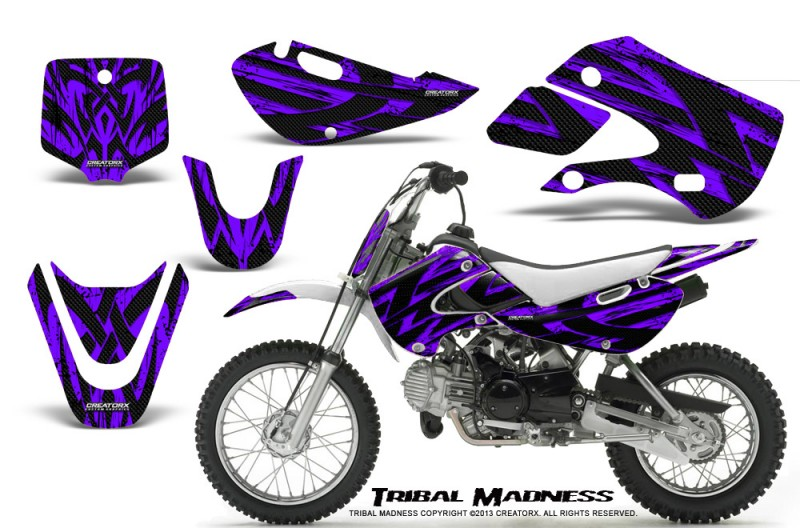 Kawasaki-KLX110-KX65-CreatorX-Graphics-Kit-Tribal-Madness-Purple