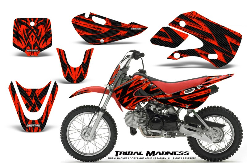 Kawasaki-KLX110-KX65-CreatorX-Graphics-Kit-Tribal-Madness-Red