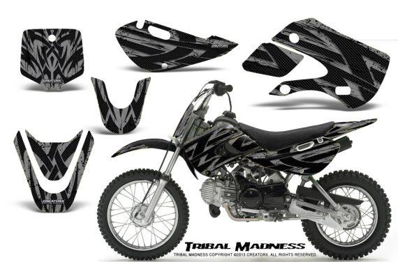 Kawasaki KLX110 KX65 CreatorX Graphics Kit Tribal Madness Silver 570x376 - Kawasaki KLX110 2002-2009 Graphics