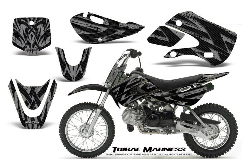 Kawasaki-KLX110-KX65-CreatorX-Graphics-Kit-Tribal-Madness-Silver