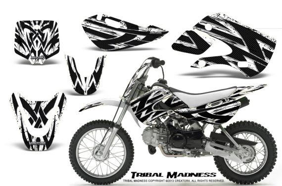 Kawasaki KLX110 KX65 CreatorX Graphics Kit Tribal Madness White 570x376 - Kawasaki KLX110 2002-2009 Graphics